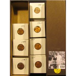 """1722 . 9"""" Stock box with 2 x 2 carded Lincoln Cents dating from 1969-1999, all BU to Gem BU."""