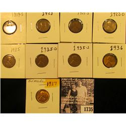 1735 . 1919S VG, 21P VG, S Fine, 22D VG, 35P EF, D EF, S VG, 36P VF, & 37P BU Lincoln Cents.