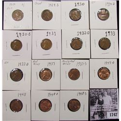 1742 . 1929P, S, 30P, D, S, 31P, 32D, 33P, D, 37P, S, 47D, 48P, D, & S  Lincoln Cents, grades from G