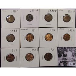 1746 . 1930D, 31P, 31 S, 32D, 33P, 37P, D, S, 45P, 58D, & 64P Lincoln Cents, grading Good to Superb