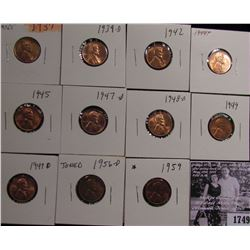 1749 . 1937P, 39D, 42P, 44P, 45P, 47D, 48D, 49P, D, 56D, & 59P Lincoln Cents grading Uncirculated to
