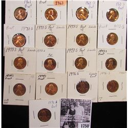 1750 . (2) 1963P, (2) 68S, 71S, (7) 73S, (2) 74S, & (3) 76S Proof Lincoln Cents.