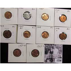 1756 . 1935P, 43P, 44P, S, 45P, 47P, 48P, 48S, 50D, & 55S Lincoln Cents grading Uncirculated to Gem