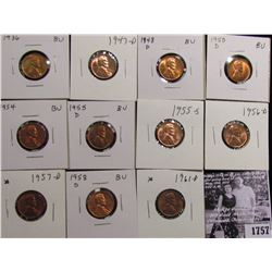 1757 . 1936P, 47D, 48D, 50D, 54P, 55D, S, 56D, 57D, 58D, & 61D Lincoln Cents grading Uncirculated to