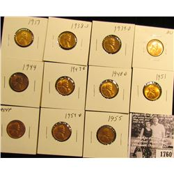 1760 . 1917P, 38S, 39D, 41P, 44P, 47D, 48D, 51P, 54P, D, & 55P Lincoln Cents grading Uncirculated to