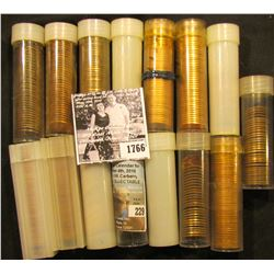 1766 . (15) Partial & Full Rolls of Lincoln Cents in plastic tubes, most appear to be BU Memorials,