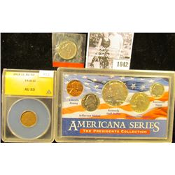 1842 . Group: 1981D Nickel in mint cellophane; 1964 Americana Series Five-piece Set; & 1918 P ANACS