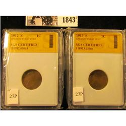 1843 . Pair of SGS Certified Lincoln Cents: 1912 S & 1913 S.