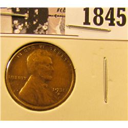 1845 . 1931 S Lincoln Cent, VF.