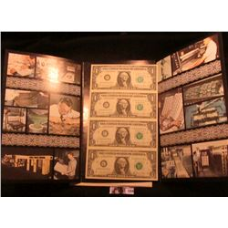 Lot 1856 Series 1981 Four Note Uncut Sheet of $1.00 Federal Reserve Notes. Crisp Unc