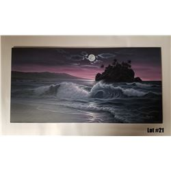 """Evening Silhoutte"" by Noelito, Original Oil on Canvas, 36x18, $3500 Value"