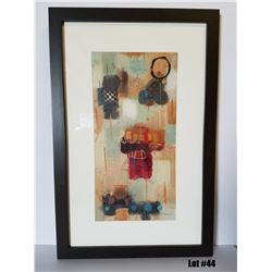 "Framed Art by Milan, Original Paper, $495 Retail, 22-3/4 X 34-3/4, Matted with 1-3/4"" dark brown fra"