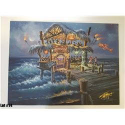 """""""Hang Over Hut"""" by Tom Thordarson, 39 of 50, Paper Giclee, 24X18, $175 Retail, Signed and Numbered"""