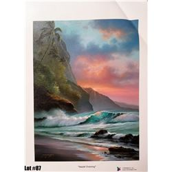 """""""Napali Evening"""" by R. Gonzalez, 164 of 350, Canvas Giclee, 9X12, $125 Retail, Signed and numbered."""