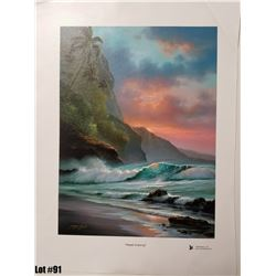 """""""Napali Evening"""" by R. Gonzalez, 175 of 350, Canvas Giclee, 12X16, $275 Retail, Signed and numbered."""
