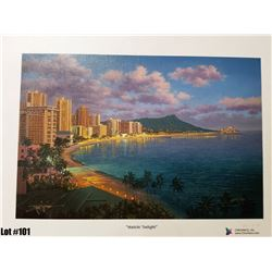 """Waikiki Twilight"" by R. Gonzalez, 239 of 350 Canvas Giclee, 13.5X9, Signed and numbered"
