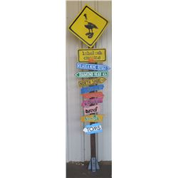 Hawaii Themed Promotional Wooden Sign Post, Approx. 9' H (Diamond Head, North Shore, etc.)