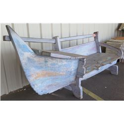 """Rustic Canoe-Theme Bench w/ Storage Compartments - Solid Wood 94"""" X 25.5"""" X 38.5"""" Back Ht."""