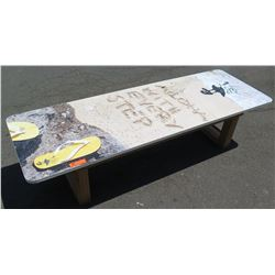 "Island Sole Promotional Bench, ""Aloha with Every Step"", Sand & Flip Flops"