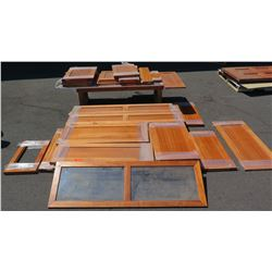 Large Lot of Koa Wood Cabinetry Doors and Panels