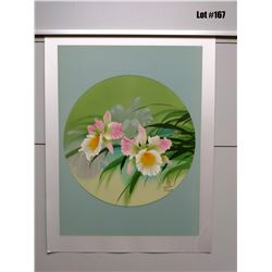 """Orchid"" by David Lee, Serigraph on Silk, 19 3/8X25 3/8, Retail $375, Signed/Numbered 216 of 250"