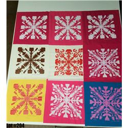 """""""Printed Quilt Patterns"""" by The Olivia Collection, Fabric, 21 X 21 Squares"""