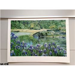 """Qty 2 """"Lagoon with Iris"""" by James Morgan, 26 x 19-1/4 Signed/Numbered 80 & 99 of 500, $250 Retail Ea"""