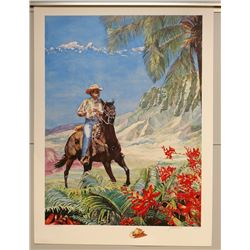 """""""Paniolo"""" by Janet Stewart, Paper Giclee, 32 3/4 X 24, Signed/Numbered (AP 8 of 45) $390 Retail"""
