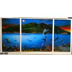 """Qty 5 """"Moonlight Dancers"""" by David Miller, Triptych, Left/Right Panel 14-1/2, Center 25-3/4 x 27"""