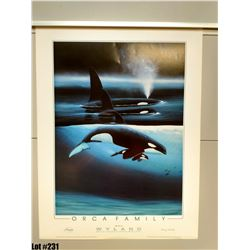"Qty 2 ""Orca Family"" by Wyland, Paper, 19 X 25 1/8"