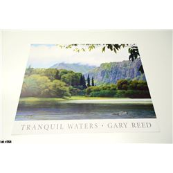 """Tranquil Waters"" by Gary Reed, Paper, 26 x 19-1/2, Signed by artist."