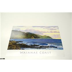 """""""Waianae Coast"""" by Gary Reed, Paper, 25-1/4 x 17, Signed by artist"""