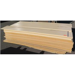"""Qty 81 (approx.) Maple Melamine Particle Sheets for Shelving, Not Pre-Drilled, 1 1/8"""" (14X97)"""