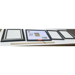 4 Black Frames, Various Sizes (3 with no glass or backing)