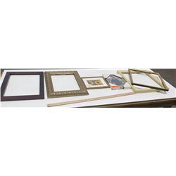 6 Misc Frames, Various Sizes & Styles (most with no glass or backing)