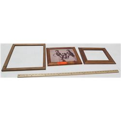 """Qty 3 Rare Solid Koa Wood Frames w/1 Image 15x17 (for 13.5""""x12""""), 13.5x12 (for 9x11), 13.5x12 (for 1"""