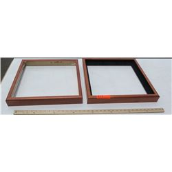 """2 Koa Wood Shadowbox Frames 19""""x19"""" (for 16x16) & 18""""x18"""" (for 16x16), No glass or backing"""