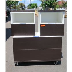 Rolling 2-Drawer Chest (39x17x28), 2 Drawered Stands(19.5x19.5) White w/Dark Brown Façade