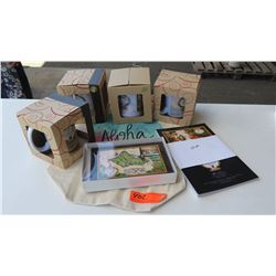 Retail Mdse: Blaise Domino Mugs (4 qty), Oahu Clock, 25 Sandwich Isles Note Cards