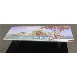 """My Happy Place"" Hawaii Theme Promotional Bench w/ Laminate Top, Approx 17""x24""x72"""