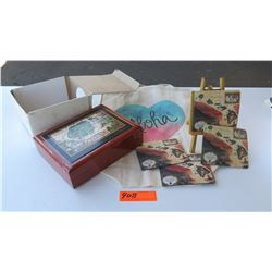 Retail Mdse: Blaise Domino Map of the Sandwich Isles Jewelry Box, Coasters (4pcs), Aloha Tote
