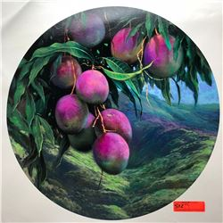 """Mangoes by Rudy Gonzalez, Canvas Giclee 23 3/4"""" Dia. Retail $500"""