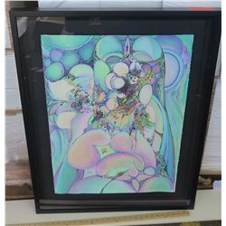 Framed Signed Psychedelic Art by Blaise Domino 29.5X37