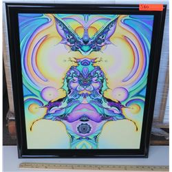 Framed Psychedelic Art by Blaise Domino, Giclee, 23X27