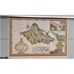 """""""Island of Oahu"""" by Blaise Domino, Paper 24"""" x 17-3/4"""" (qty 2)"""