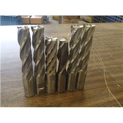 "Misc 1"" HSS End Mills, 6 Total"