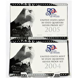 U.S. 2004 & 2005 50 States Quarters Silver Proof Sets