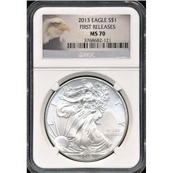 2013 $1 American Silver Eagle NGC MS70 Early Releases