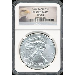 2014 $1 American Silver Eagle NGC MS70 First Releases