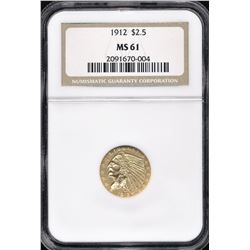 1912 $2.50 Gold Indian NGC MS 61